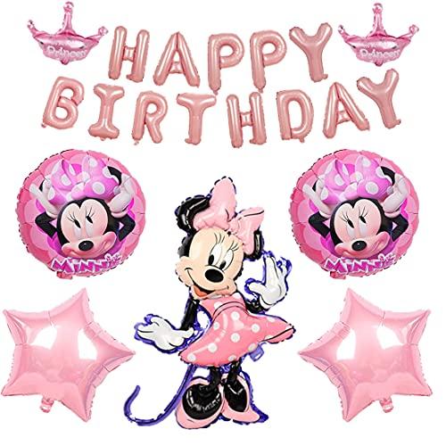6 decoraciones de cumpleaños temáticas de Minnie Wopin – Globos de papel de Minnie Minnie temáticas decoraciones para fiestas de cumpleaños de niñas decoración de baby shower