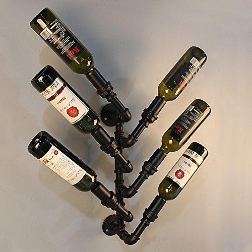 ExtaumIndustrial 6 Bottle Wall Mount Wine Rack Metal Hanging Bottle Holder Steampunk Pipe Design