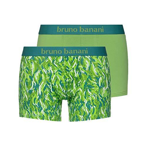 bruno banani Herren Scratch Boxershorts, grün/Ecru Print // grün, M