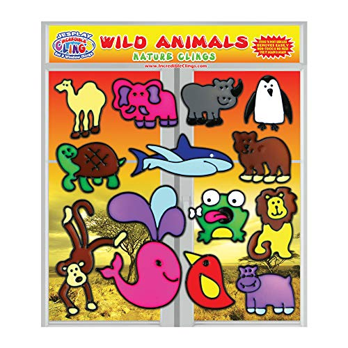 Wild Animals Flexible Gel Clings - Incredible Reusable and Removable Glass Window Clings for Kids and Toddler- Decorative Wildlife Gel Decals - Home, Airplane, Classroom, Nursery Decoration