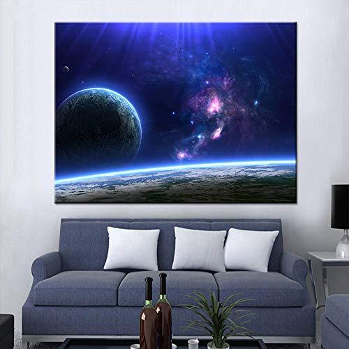 Rahmenlose ölgemälde Embelish Blue Planet Am Horizont Hd Wandkunst Landschaft Bilder Für Wohnzimmer Wohnkultur Leinwand N60x90cm