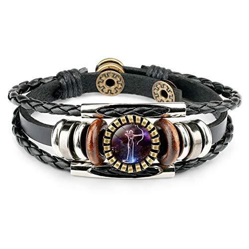 Dunbasi 12 Sternzeichen Armband Herren,Sternbilder Lederarmband Männer Frauen,Glas Cabochon Vintage Armbänder Armschmuck Armkette (Schütze)