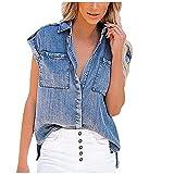 Women's Solid Color Sleeveless Denim Shirt Straight Pocket Loose Denim Top