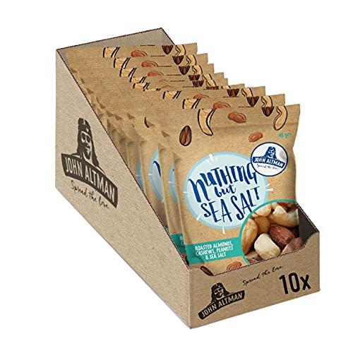 John Altman Nüsse - Meersalz - Geröstet Und Gesalzener Nuss Mix - Vegan - Nachhaltige Verpackung - 100% natürlich - Perfekt für unterwegs - Ohne künstliche Zusatzstoffe- 10x 45 Gramm