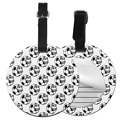 Etiquetas para equipaje Mascota de fútbol de dibujos animados con cara feliz divertida expresión de juego de deportes, etiqueta de equipaje de cuero Etiqueta de privacidad (1 pieza)