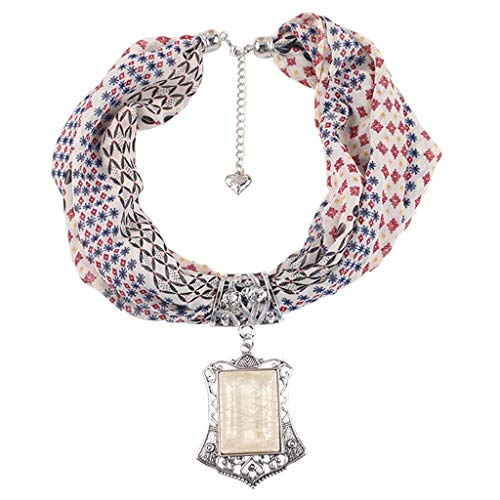 ZWXIN Floral Schals Casual Wrap Halskette Schal, Boho Beach Schal Crystal Stone für Frauen