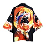 Photo de TINGS Summer Japanese Five Point Sleeves Kimono Mens and Womens Cloak Jacke Top Blouse Loose Casual Fashion Plus Oversized Quick Dry,Style J,XXL