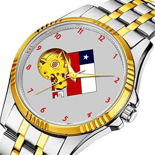 Mechanische Uhr Herrenuhr Klassische mechanische Uhr Timeless Design Mechanic (Gold) 301.chilenische Flagge und Chile