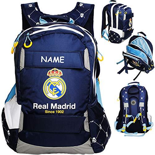 Rucksack / Laptoprucksack / Schulranzen -  Fussball - Real Madrid - Club de Futbol / FCM  - inkl. Name - 15 - 17 Zoll - Brustgurt - SUPERLEICHT & ergonomisc..
