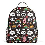 Mochila de oso panda con arco iris para mujeres y niñas estudiantes, mini moda universitaria de viaje, mochila pequeña