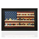"""Flags of Valor Challenge Coin Holder Wooden American Flag Wall Decor - Small - 18.5"""" x 29.5"""" - Made in the USA - Holds 40 Coins. Government Military Challenge Coin Holder Display Black Framed"""