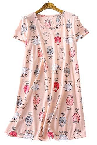 Damen Schlafhemd Kurzarm Rund Ausschnitt Nachthemd Pyjama Kleid Nachtwäsche Nachtkleid Sleepwear Schlaf T Shirt Pink S