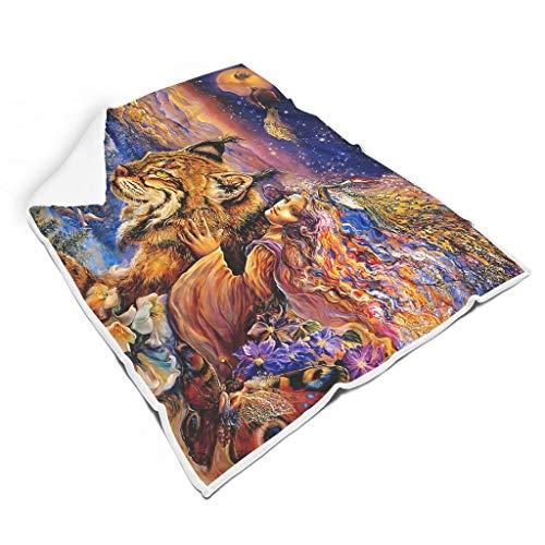 kikomia Leicht Sherpa Decke Werfen Fantasy Mädchen Lynx Elf Wald Kunst Druck Mystisch Bett Werfen Nickerchen Machen Erwachsene&Kinder White 150x200cm