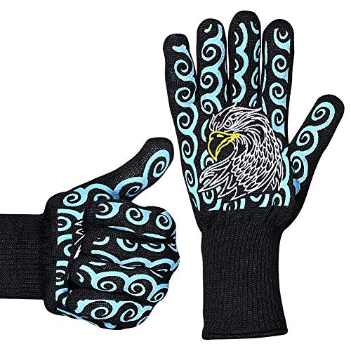 Lomoyato Eagles BBQ Grilling Gloves Cooking Gloves Heat Resistant Oven Gloves 2 Pack Oven Mitts Fireplace Baking Gloves with Silicone Non-Slip