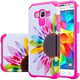 [Coverlab],Silicone Shock Proof Hybrid Case Compatible for Samsung Galaxy Go Prime, Grand Prime Case Dual Layer Protective Cover Girls Women Phone Case Vivid Sunflower