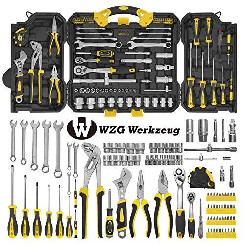 WZG Werkzeug 99 teilig Werkzeugset im Koffer, Chrom Vanadium Steckschlüssel Set mit starker Tragetasche