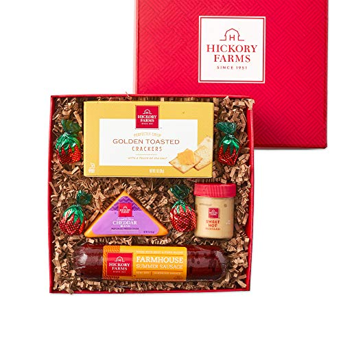 Hickory Farms Meat & Cheese Sampler Size Gift Box | Gourmet Food Gift Basket Perfect For Snacking,...
