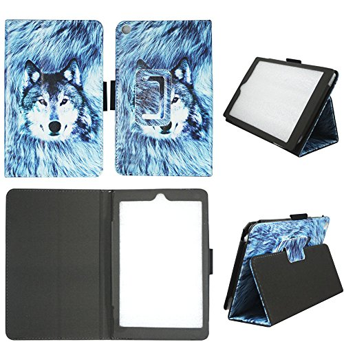 Snow Wolf Tablet Folio Case for Amazon Kindle Fire HD 8 (6th Generation 2016 released) Slim Fit Premium PU Leather Standing Cover with Auto Wake / Sleep