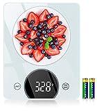Cocoda Bascula de Cocina, 10KG / 22lbs Bascula Cocina con Alta Precisión, Pantalla LED & Vidrio Templado, Función Tara, 4 Unidades Peso Cocina Digital(Gramos y Onzas) para Cocinar, Baterías Incluida