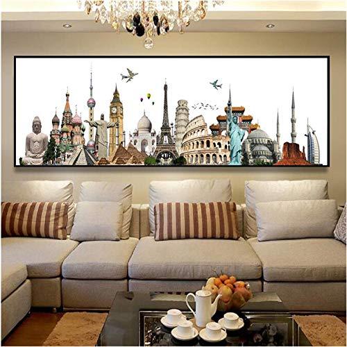 Jwqing Plakate und Drucke Leinwand Malerei Paris Dubai Rom New York Cityscape Hängende Wandkunst Bilder Wohnkultur Moderne Kunst (50x150cm ohne Rahmen)