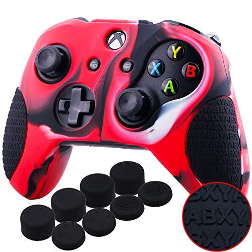 YoRHa Verdickt Gummi Silikon Hülle Skin Taschen 3D-Buchstaben-Massagegriff für Xbox One S/X Controller x 1 (Tarnung rot) Mit Daumengriffe Aufsätze Joystick-Kappen Thumb Grip x 8