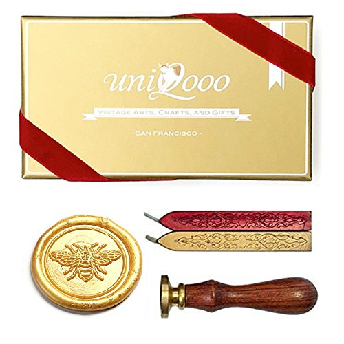 UNIQOOO Wax Seal Stamp Kit - Cute Little Bee Pattern, Wine Red & Gold Wax Sticks with Wicks - Perfect Gift Ideas for Friends, Relatives, Artistic Types, Bee Lovers