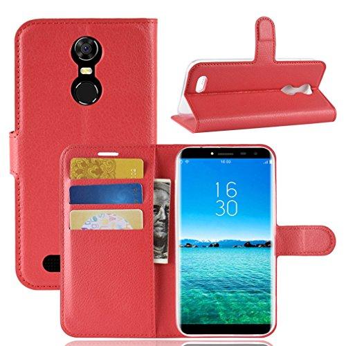 LMFULM® Hülle für OUKITEL C8 3G / 4G (5,5 Zoll) PU Leder Magnetverschluss Brieftasche Lederhülle Handytasche Litschi Muster Standfunktion Ledertasche Flip Cover für OUKITEL C8 Rot