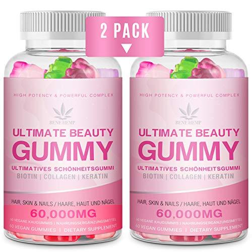 2 PACK Gominolas de Vitamina para el Cabello,15,000 mcg de Gominolas de Biotina, Gominolas Multivitamínicas para el Cabello, la Piel y las Uñas, Adecuadas para Mujeres