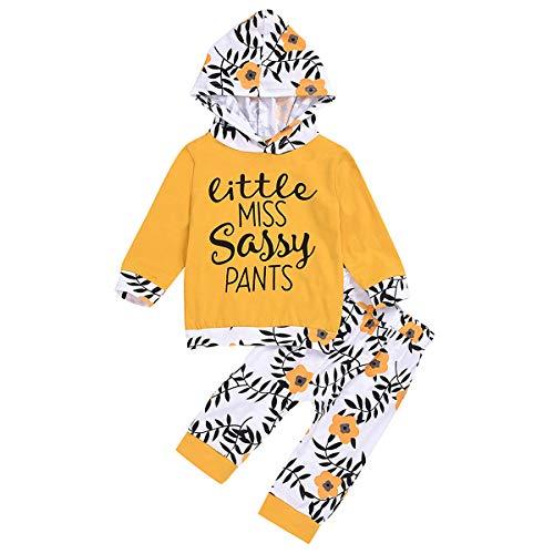 puseky bébé Fille Petite Miss Pantalon Sassy Tenue à Manches Longues à Capuche Chemise Pantalon Floral vêtements Ensemble