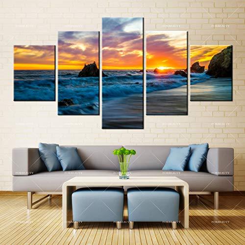 PSpXU Rahmenlos-Yan Leinwand Malerei Wandbild Amerikanische Küste Sonnenaufgang Sonnenuntergang Welle Himmel Tinte Home Decoration