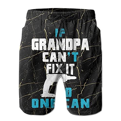 VJSDIUD Si el Abuelo no Puede arreglarlo, Nadie Puede Pantalones Cortos de Playa para Hombre Ropa de Playa con cordón