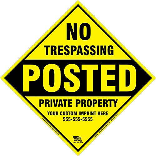 Minuteman Signs x100 Customized Metal Diamond No Trespassing Posted Sign with Your Information (Yellow)