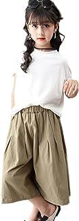 子供服 夏着 学生セットアップ 上下 2点セット 半袖Tシャツ トップス 七分パンツ カジュアルパンツ 女の子 可愛いスタイル 無地シンプル Tシャツ+パンツ 2点セット キッズ 子供服