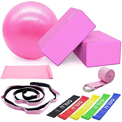 DALV 11 Stücke Yoga Zubehör, Yoga Block(9 × 6 × 4 Zoll) 2er Set mit Yogagurt und 10 Schlaufen Yogibato Gurt, Soft Pilates Ball - 25cm, Fitnessbänder Gummi Set-5er, 2m Widerstandsbänder