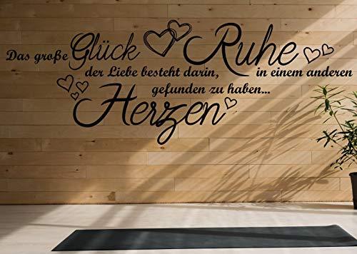 tjapalo® a40 wandtattoo das große glück der liebe Wandsticker Liebessprüche Wandtattoo romantische Sprüche, Farbe: dunkelrot, Größe: B100xH38cm