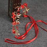 Ownlife Guirnalda de Flores Elegante Diadema Hecha a Mano Perla Nupcial Diadema Boda Accesorios de Boda, tocados Nupciales para la Fiesta de Bodas (Color : Red)