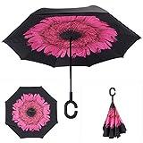 YZMBYUSAN Parapluie Vert ombrage Arbre Coupe-Vent Grand Protection Droite Parapluie pour Voiture Pluie en Plein air avec poignée en Forme de c