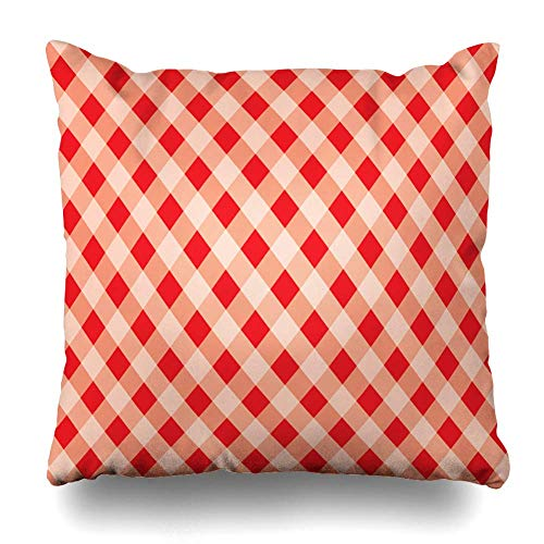 Klotr Housses De Coussin Dresses Basket Diagonal Pattern White Plaid Red Canvas for Quilts Products Abstract Design Pastel Pillowcase Square Size 18 X 18 inches Zippered Home Decor Cushion Case