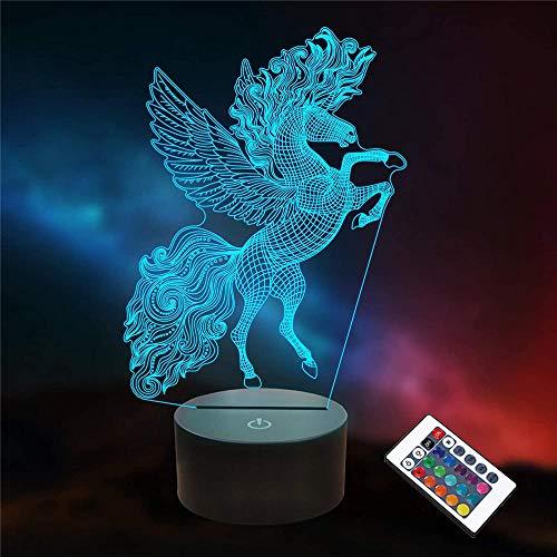 Luz nocturna 3D para niños, 16 colores cambiantes lámpara de noche con mando a distancia, lámpara de noche para niños y adultos unicornio