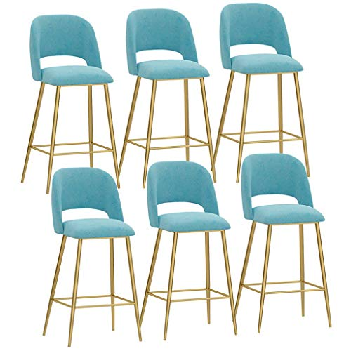 6 barkrukken, zacht, velvet stoelen, ontbijt, werk, keuken, stoelen, voeten van metaal, hoge kruk, met rugleuning en voetensteun. 65cm Blauw