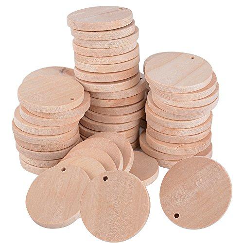 (Dia. 3.5cm) 100pz Dischi Legno Naturale Rotonda Fette con Foro Decorazioni per Scrapbooking Fai Da Te Regalo Gioiello
