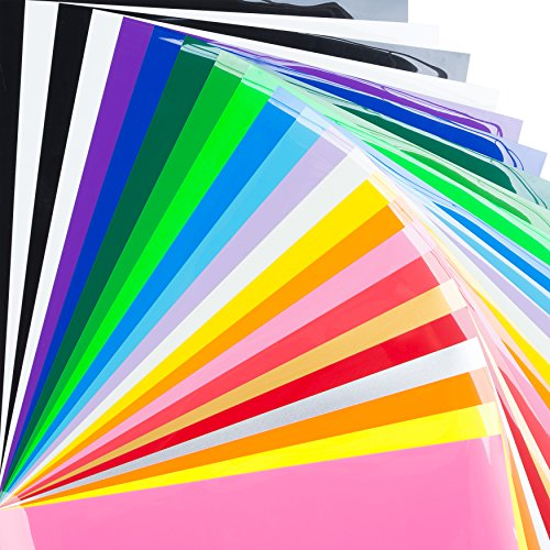 Bright Idea Supplies Heat Transfer Vinyl Bundle - 23 Sheet Pack of HTV Vinyl - Iron On Vinyl Assorted Colors and Glow in the Dark HTV Bundle - Iron on Vinyl for Cricut, Silhouette Cameo and Heat Press