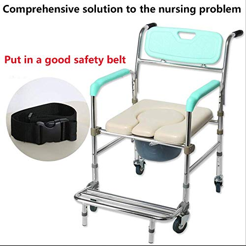 Y-L Ouderen Opvouwbare Aluminium Wielig Mobiele Toiletbril Anti-Rollover Badstoel Geschikt voor Zwangere Vrouwen Oudere Benen en Voeten Zijn Niet Flexibele Mensen Handig om Uitgaan