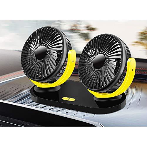 Ventole per auto Baceyong 12V Circolatore d'aria di raffreddamento estivo 360 Regolazione libera a doppia testa Ventola di raffreddamento per auto Potente e silenziosa 2 velocità di rotazione