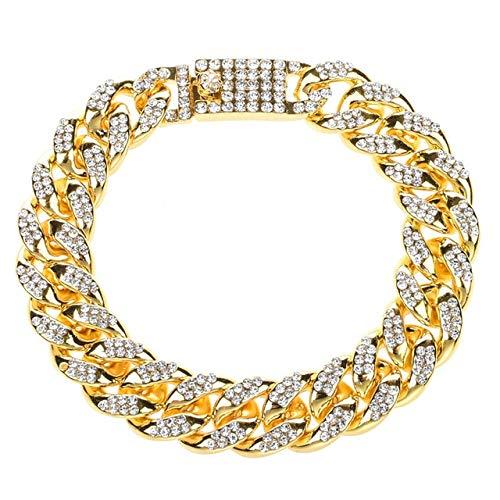 DJMJHG Hombres Europen Pulsera Diamante de imitación Estilo Cubano Oro Plata Iced out Pavimentado Cadena de eslabones Pulsera Unisex1
