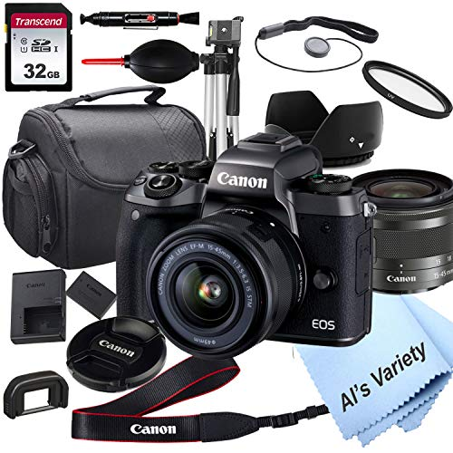 Canon EOS M5 Mirrorless Digital Camera with 15-45mm Lens + 32GB Card, Tripod, Case, and More (18pc Bundle)