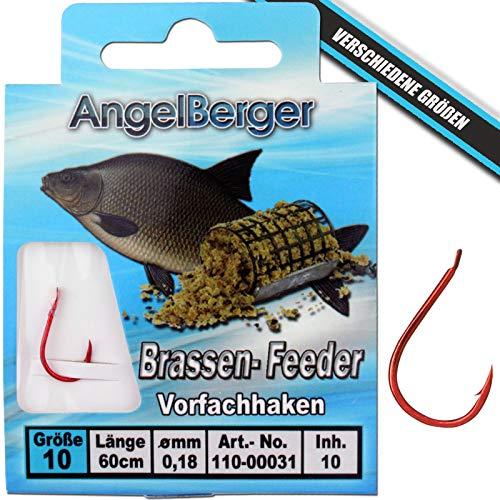 Angel-Berger Vorfachhaken gebundene Haken (Brassen/Feeder, Gr.10 0,18mm)