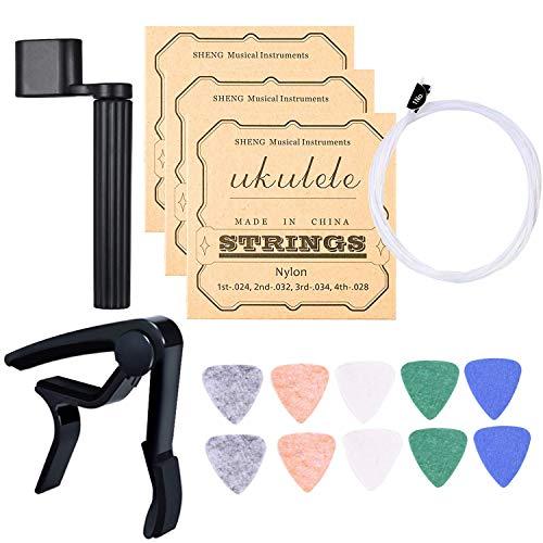 LABOTA 5 Juego de cuerdas para ukelele de Nylon con 10 Púas de Fieltro de Ukelele para Soprano/ Concierto / Tenor Ukelele, 1x Enrollador de cuerdas, 1x Capo para Ukelele