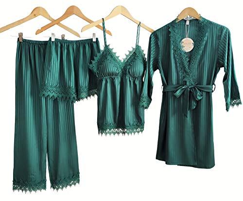 Laura Lily - Pijama Mujer de Seda Satén a Rayas Color Liso con Encaje Conjunto de 4 Piezas (Verde, S-M)