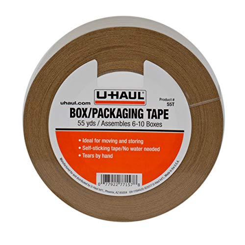 U-Haul Moving Box Paper Tape (Ideal for Moving, Packing, Storage Boxes) - 55 Yard Roll - Easily Tears by Hand